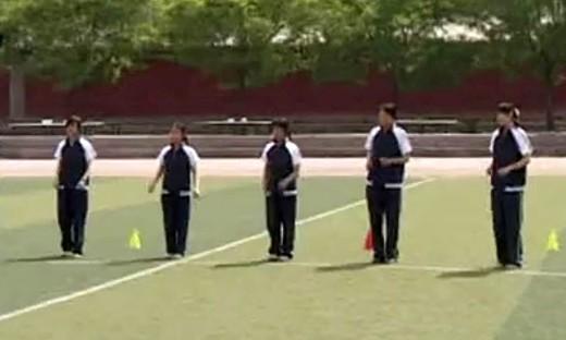 """《接力跑中""""下压式""""传接棒技术》高中体育优质课视频-韩建华"""