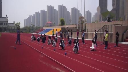 人教版体育八年级《投-侧向滑步推实心球》课堂教学视频实录-胡斌